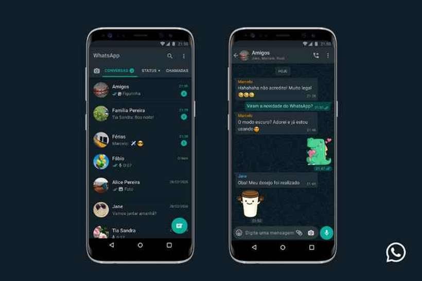 modo escuro do whatsapp já está disponível para ios e android