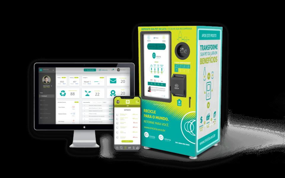 retorna machine troca reciclável por dinheiro em conta digital